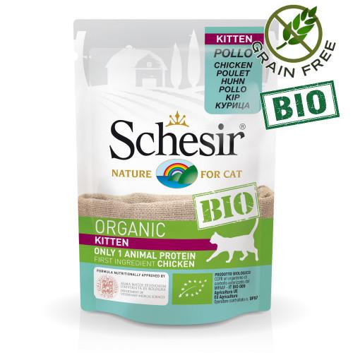 Schesir Kitten Bio Chicken - пауч за отбити котенца 100% пилешко. Био сертифицирана храна с ултра премиум качество!