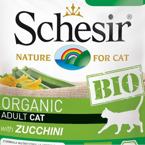 Schesir Cat Bio Chicken & Pork with Zucchini - сертифицирана органична храна за котки. Ултра премиум качество!