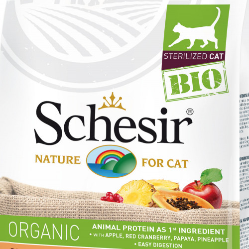 Schesir Cat Bio Sterilized - сертифицирана органична храна за кастрирани котки. Супер премиум качество!