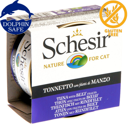 Schesir Cat Tuna with Beef Fillets - консерва за котки 85 гр