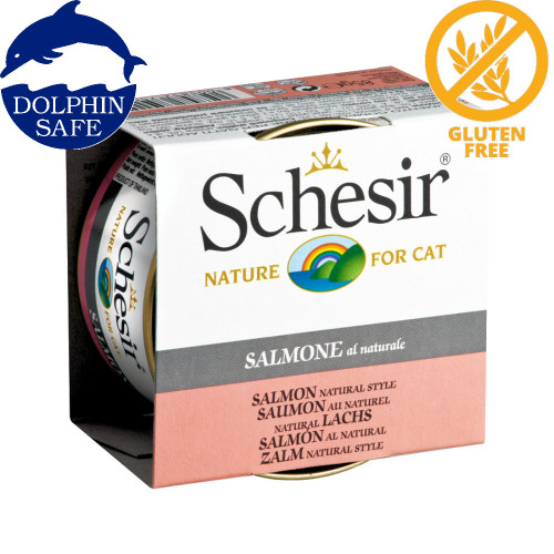 Schesir Cat Salmon Natural - консерва за котки със сьомга в собствен сос. Супер премиум качество!