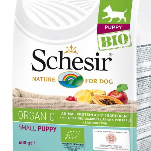 Schesir Puppy Bio Chicken - органична храна за кученца от мини и салонни породи. Супер премиум качество!