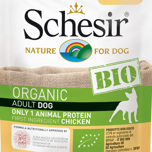 Schesir Dog Bio Chicken - органична храна за кучета с пилешко месо. Ултра премиум качество!