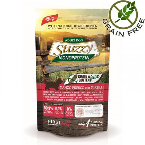 Stuzzy Dog Beef - пауч за кучета с телешко и боровинки. Без зърнени храни и глутен. Супер премиум качество!