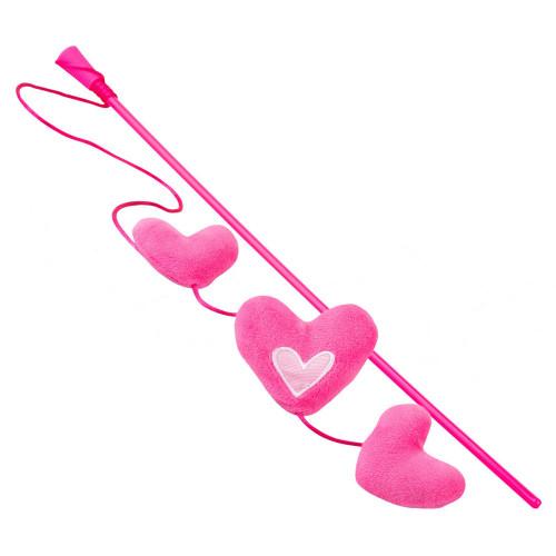 Котешка въдичка с розови сърчица - Rogz Catnip Hearts Stick