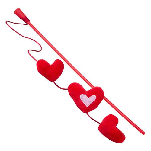 Котешка въдичка с червени сърчица - Rogz Catnip Hearts Stick