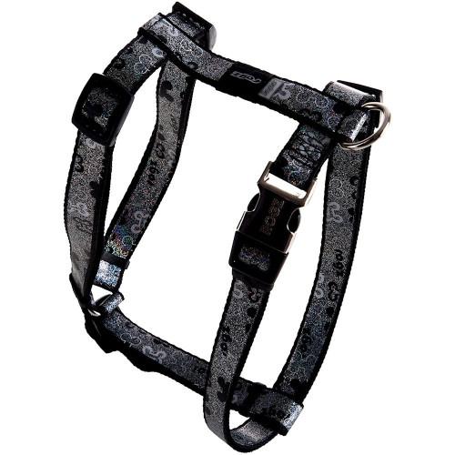 Нагръдник за миниатюрни кучета Rogz Trendy Harness - дизайнерска модна колекция Black Bones