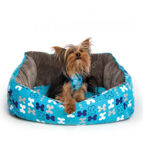 Затворен нагръдник за най-малките породи кучета от дизайнерската колекция Rogz Trendy Wrapz Blue Bones