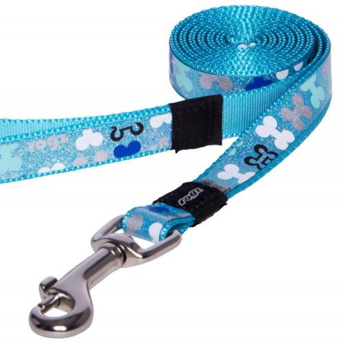 Повод за най-малките породи кучета от дизайнерската модна колекция Rogz Trendy Lead Blue Bones