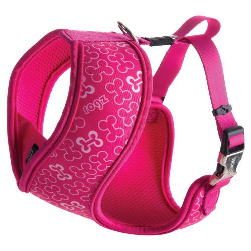 Затворен нагръдник за миниатюрни породи кучета от дизайнерската колекция Rogz Trendy Wrapz Pink Bones