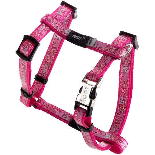 Нагръдник за миниатюрни кучета Rogz Trendy Harness - дизайнерска модна колекция Pink Bones