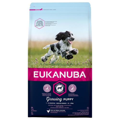 Храна за отбити кученца от средни породи Eukanuba Puppy Medium - 3кг