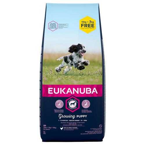 Храна за отбити кученца от средни породи Eukanuba Puppy Medium - 18кг
