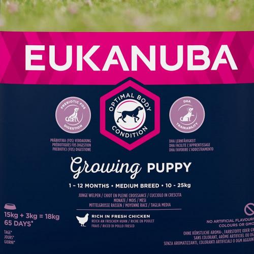 Храна за кутрета от средни породи Eukanuba Puppy Medium - 18кг