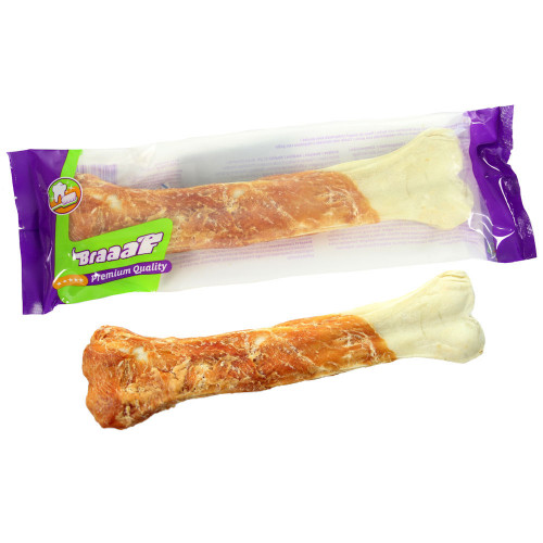 Пресован кокал от телешка кожа увит в пилешко филе BRAAAF Pressed Bone Chicken - 1 x 20см