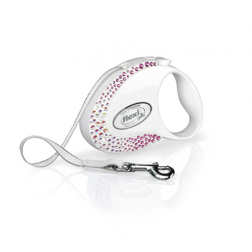 Луксозен автоматичен повод за кучета Flexy Glam Pearl White Composition Crystalized™ Swarovski S с лента 3м