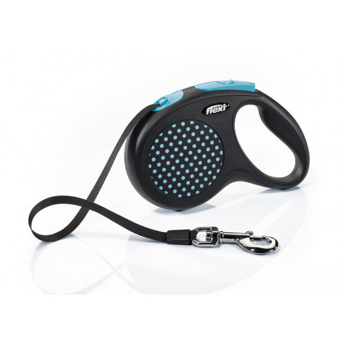 Автоматичен повод за кучета Flexi Design Dots M с лента 5м - син
