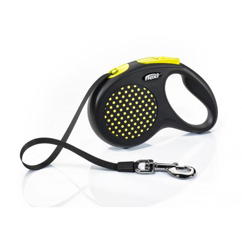 Автоматичен повод за кучета Flexi Design Dots M с лента 5м - жълт