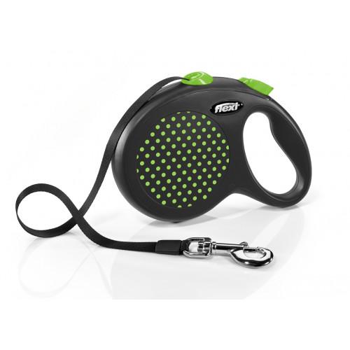Автоматичен повод за кучета Flexi Design Dots L с лента 5м - зелен