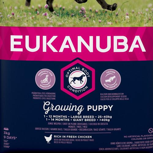 Храна за кутрета от едри и гигантски породи Eukanuba Puppy Large - 3кг