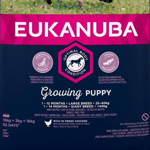 Храна за кутрета от гигантски и едри породи Eukanuba Puppy Large - 18кг