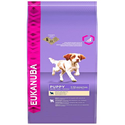 Храна за подрастващи кученца от всички породи Eukanuba Puppy Lamb and Rice - 15 + 3кг гратис