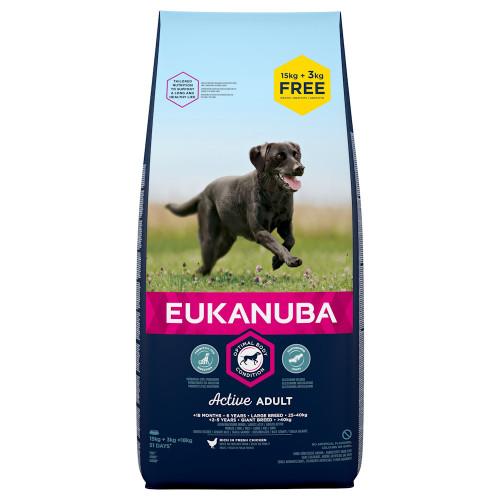 Храна за кучета от едри и гигантски породи Eukanuba Dog Adult Large - 15 + 3кг гратис