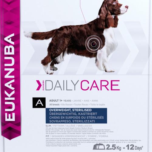 Диетична кучешка храна за сваляне и контрол на теглото Eukanuba Daily Care Dog Overwieght/Sterilized 2.5кг