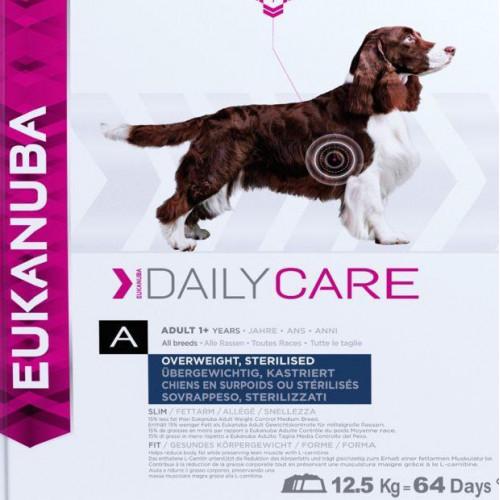 Диетична храна за кастрирани кучета Eukanuba Daily Care Dog Overwieght/Sterilized 12.5кг + 4кг гратис