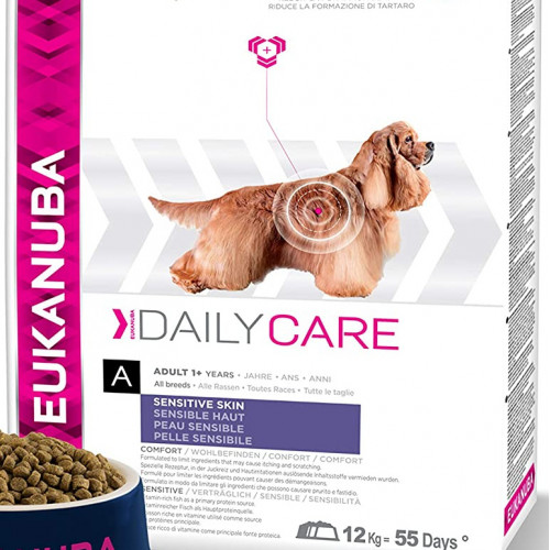 Храна за кучета със склонност към кожни алергични реакции Eukanuba Daily Care Dog Sensitive Skin 12.5 + 4кг гратис
