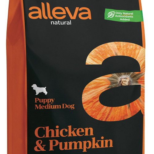 "Суха храна с тиква за кутрета от средни породи Alleva® Natural ""Chicken & Pumpkin"" Puppy Medium - 12.00kg"
