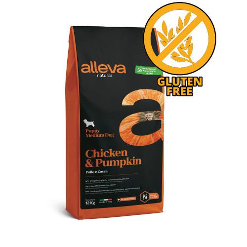 "Суха храна с тиква за кученца от средни породи Alleva® Natural ""Chicken & Pumpkin"" Puppy Medium - 12.00kg"