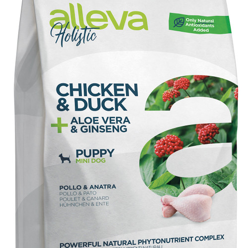 "Холистична храна за кученца от малки породи Alleva® Holistic ""Chicken & Duck + Aloe Vera & Ginseng"" Puppy Mini - 2.00kg"
