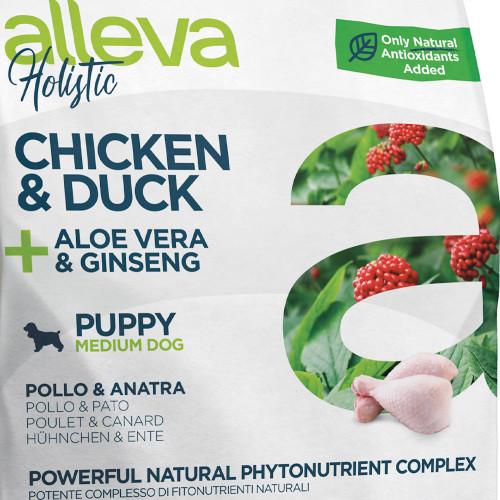 """Холистична храна за кученца от средни породи Alleva® Holistic """"Пилешко & Патешко + Алое Вера & Женшен"""" Puppy Medium - 0.800kg"""