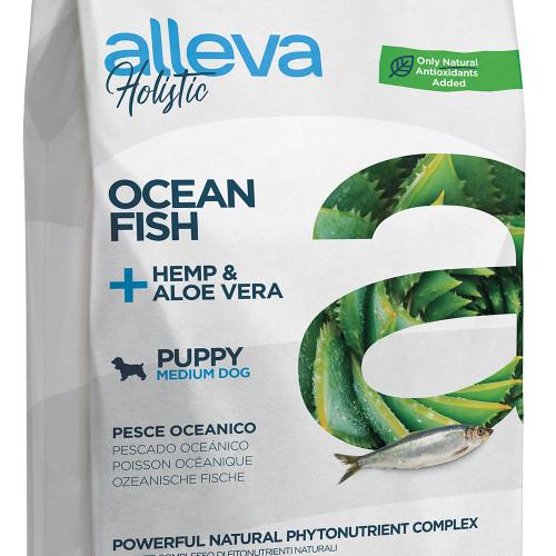 """Холистична храна за кученца от средни породи Alleva® Holistic """"Океанска риба + коноп & алое вера"""" Puppy Medium - 12.00kg"""