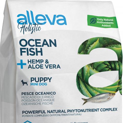 """Холистична храна за кученца от мини породи Alleva® Holistic """"Океанска риба + коноп & алое вера"""" Puppy Mini - 0.800kg"""