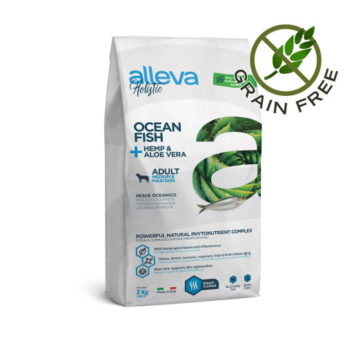 "Холистична храна за кучета Alleva® Holistic ""Ocean Fish + Hemp & Aloe Vera"" Adult Dog Medium & Maxi - 2.00kg"