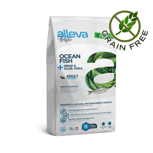 "Холистична храна за мини кучета Alleva® Holistic ""Ocean Fish + Hemp & Aloe Vera"" Adult Dog Mini - 2.00kg"