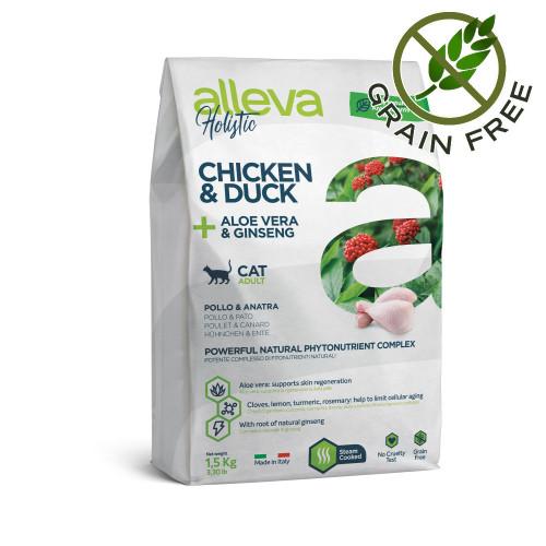 "Холистична храна за котки с женшен и алое вера Alleva® Holistic ""Chicken & Duck + Aloe Vera & Ginseng"" Cat - 1.5kg"