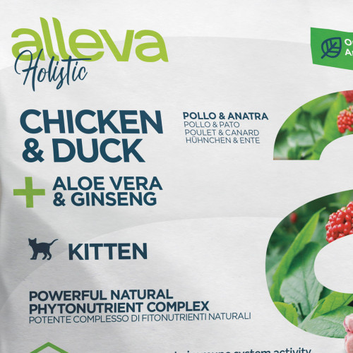 "Холистична храна за котенца с женшен и алое вера Alleva® Holistic ""Chicken & Duck + Aloe Vera & Ginseng"" Kitten - 0.400kg"