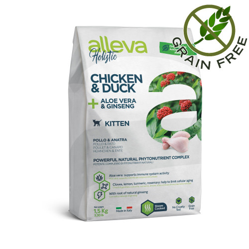 "Alleva® Holistic ""Chicken & Duck + Aloe Vera & Ginseng"" Kitten - 1.5kg"