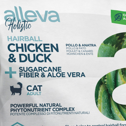 "Холистична храна за котки против космени топки Alleva® Holistic ""Chicken & Duck + Aloe Vera & Sugarcane"" Hairball Cat - 0.4kg"