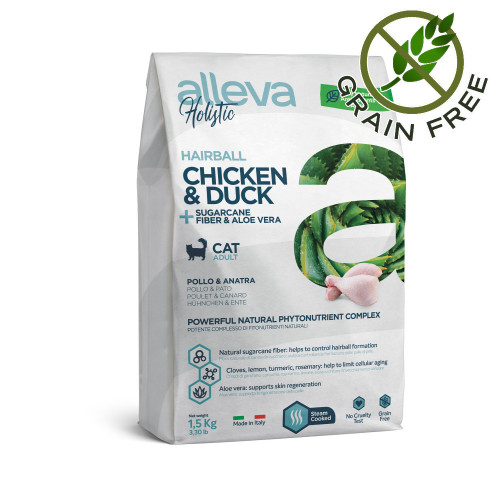 "Холистична храна за котки против космени топки Alleva® Holistic ""Chicken & Duck + Aloe Vera & Sugarcane"" Hairball Cat - 1.5kg"