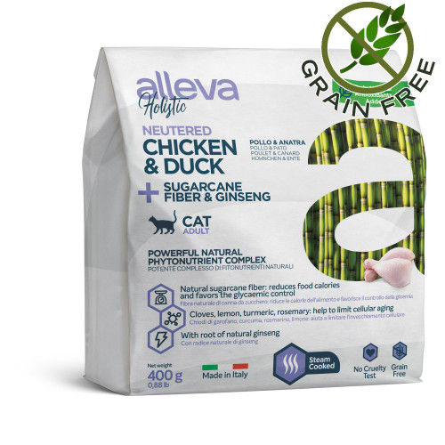 "Холистична храна за кастрирани котки с женшен Alleva® Holistic ""Chicken & Duck + Aloe Vera & Sugarcane"" Neutered Cat - 0.400kg"