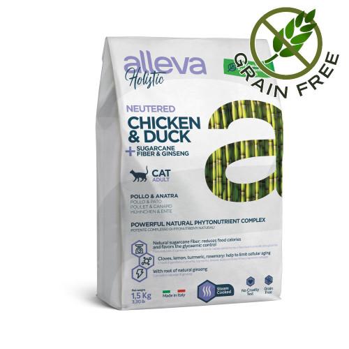 "Холистична храна за кастрирани котки с женшен Alleva® Holistic ""Chicken & Duck + Aloe Vera & Sugarcane"" Neutered Cat - 1.5kg"
