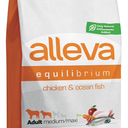 "Храна за кучета без глутен Alleva® Equilibrium Maintenance All Day ""Chicken & Ocean Fish"" Adult Medium & Maxi Dog - 12.00kg"