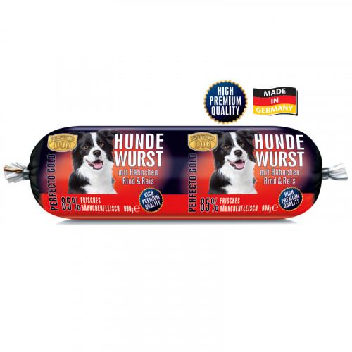 Салам кучешка радост Perfecto Gold с пиле, телешко и ориз - 900 гр