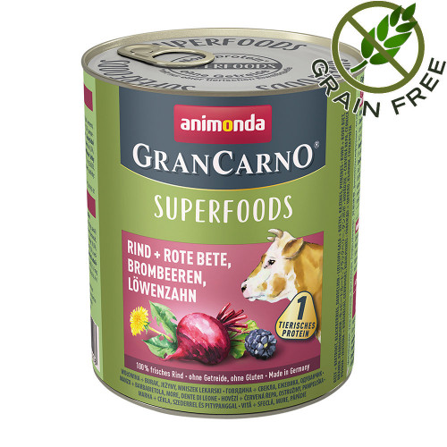 Консерва за кучета с говеждо и суперхрани - Gran Carno Superfoods Beef 800гр