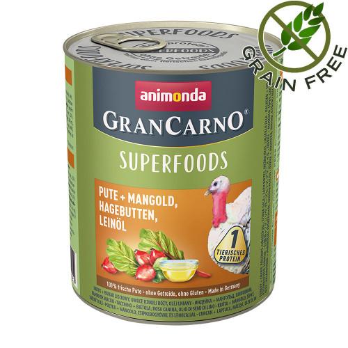 Консерва за кучета с пуешко и суперхрани - GranCarno Superfoods Turkey 800гр