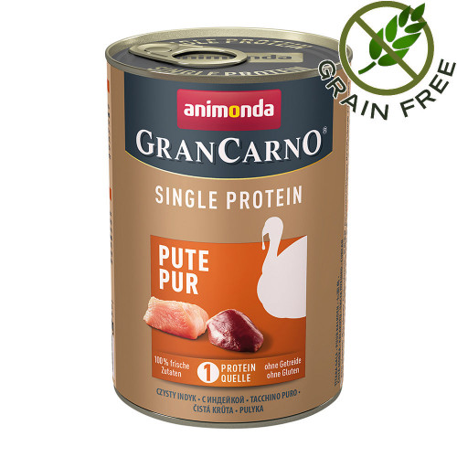 Консерва за кучета монопротеин от пуешко месо - GranCarno Single Protein Turkey Pure - 400гр